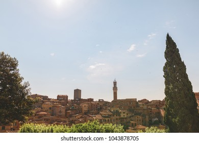 Scenic landscape view or Italian Siena city