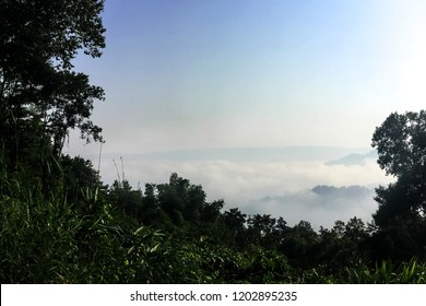 Scenic Landscape view in morning Sunrise and the mist in winter Landscape, view from top of mountain at Phu Huay Isan, Nong Khai Province, Thailand