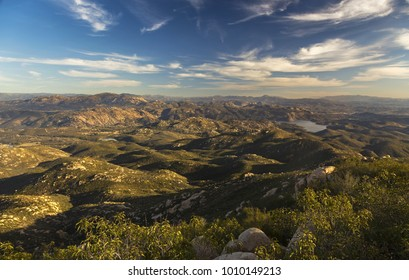 Scenic Landscape View South of San Diego County and Distant Baja California Peninsula across Mexico Border from summit of Iron Mountain in Poway