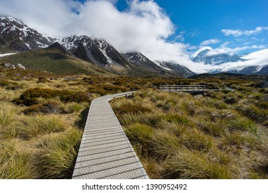 Scenic landscape view of a track leading to Mount Cook at Hooker Valley, Aoraki/Mount Cook National Park, South Island of New Zealand.