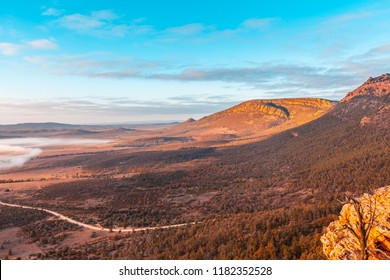 Scenic landscape viewed from Jarvis Hill lookout at sunrise. Hawker, South Australia