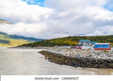 Scenic landscape views with low hanging clouds on mountains in Skagway, Alaska