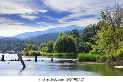Scenic landscape of Whatcom lake in Washington state