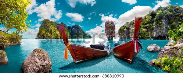 Landschaft. Phuket Seascape. Landschaft Thailand Meer und Insel. Abenteuer- und Reisekonzept