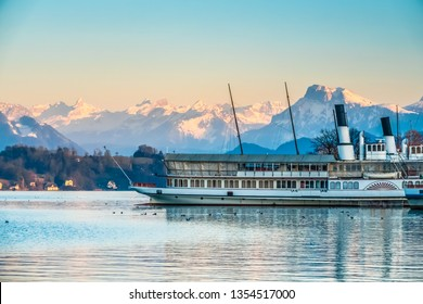 Scenic landscapes along the shores of Lake Lucerne (Vierwaldstattersee), Lucerne (Luzern), the largest city in Central Switzerland