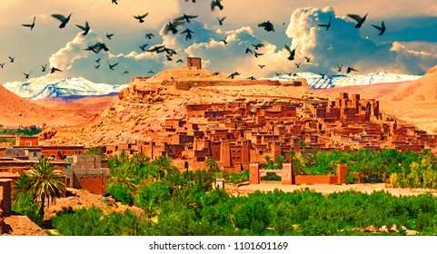 Scenic landscapes of morocco. Village of Ouarzazate. Tourism and travel in scenery Marrakech