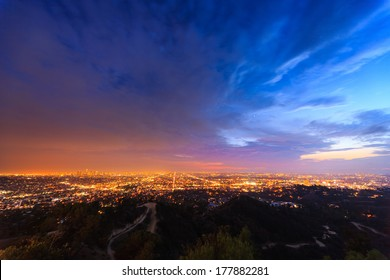 Scenic Los Angeles city cityscape at twilight.
