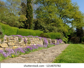 Scenic Low Angle View of a Stone Paved Path and Green Lawn in a Tranquil Garden