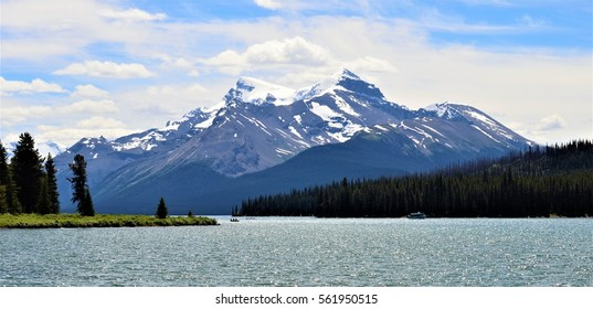 The scenic Maligne Lake of Jasper National Park in the Canadian Rockies, Alberta, Canada