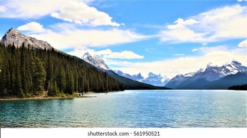 The scenic Maligne Lake of Jasper National Park in the Canadian Rockies, Alberta, Canada
