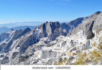 The scenic marble quarries in Carrara, Italy, where Michelangelo sourced materials for his famous sculptures, photographed during the month of October