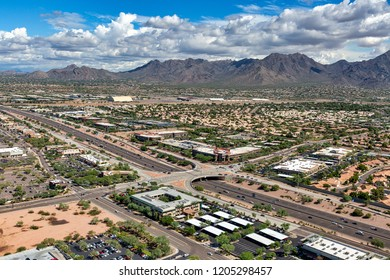 The Scenic McDowell Mountains in Scottsdale, Arizona from above the Loop 101 freeway and Raintree exit looking to the northeast