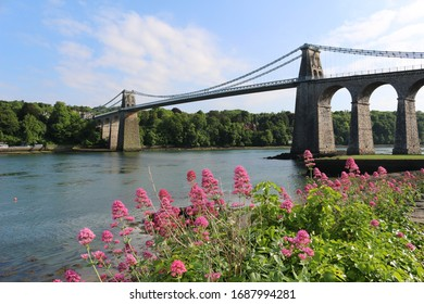 Scenic Menai Bridge in Wales