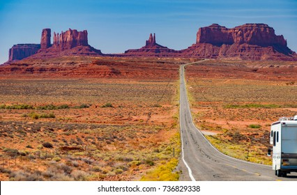 Scenic Monument Valley Landscape RV camper van on the border between Arizona and Utah in United States America