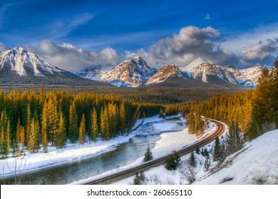 Scenic Morant's Curve in winter, Banff National Park, Alberta Canada