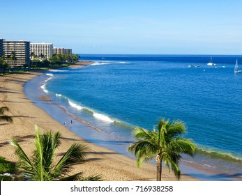 Scenic Morning View of Kaanapali Beach, Pacific Ocean, Resorts & Palm Trees - Lahaina, Maui, Hawaii