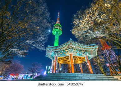 Scenic most beautiful night on Mount Namsan N-SEOUL TOWER South Korea