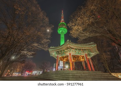 Scenic most beautiful night on Namsan Mountain Seoul Tower South Korea