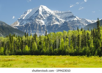 Scenic Mount Robson in the Canadian Rocky Mountains, near Jasper National Park, Alberta