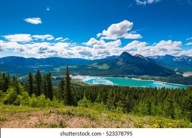 Scenic Mountain Hiking views of Barrier Lake Kananaskis Country Alberta Canada