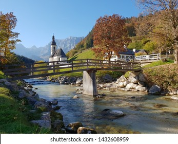 Scenic mountain landscape in the Bavarian Alps with famous Parish Church of St. Sebastian in the village of Ramsau, Nationalpark Berchtesgadener Land, Germany