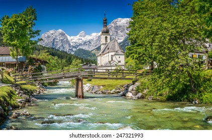 Scenic mountain landscape in the Bavarian Alps with famous Parish Church of St. Sebastian in the village of Ramsau, Nationalpark Berchtesgadener Land, Upper Bavaria, Germany