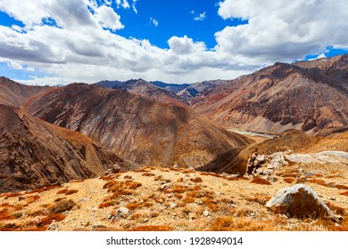 Scenic mountain landscape from highway between Manali in Himachal and Leh in Ladakh, Himalaya in India