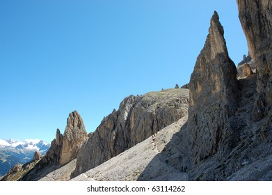 Scenic mountain landscape in Italian dolomites.