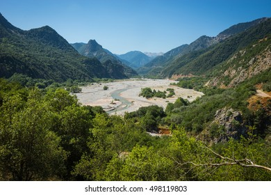 Scenic mountain  landscape with Krikeliotis river at Evritania in Greece