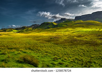 Scenic Mountain Landscape At The Old Man Of Storr Formation On The Isle Of Skye In Scotland