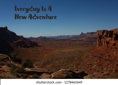 Scenic mountain view from Cliffhanger 4x4 off road Jeep trail in  Moab Utah with a quote about adventure.