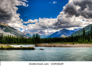 Scenic Mountain views of the Kootenay River, Kootenay National Park, BC Canada