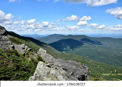 Scenic mountain views while hiking the Long Trail in Stowe, Vermont in summer