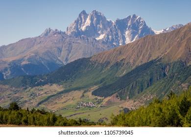 Scenic mountains and high snow peaks surrounding Mestia, Svaneti, Georgia