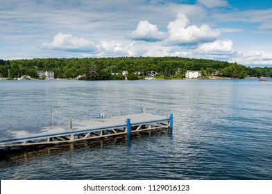 Scenic Nature on Long Lake with a pier in Naples, Maine, United States