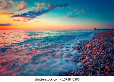 Scenic nature sunset above sea. Seascape background