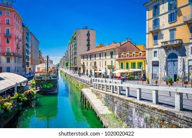 Scenic Naviglio grand canal in Milan, Lombardia, Italy on July 24, 2017.