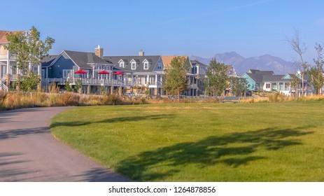 Scenic neighborhood in Daybreak Utah on sunny day