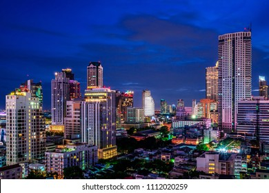 scenic of night cityscape building on twilight skyline