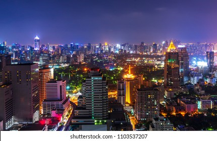 scenic of night metropolis cityscape with lighting up and skyline