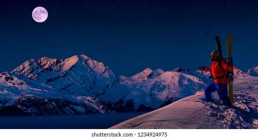 Scenic night panorama sunset landscape of Crans-Montana range in Swiss Alps mountains with peak in background, Crans Montana, Switzerland.