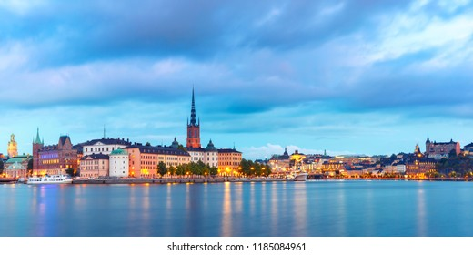 Scenic night panoramic view of Riddarholmen, Gamla Stan, in the Old Town in Stockholm, capital of Sweden