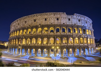 Scenic night view of the Colosseum in Rome