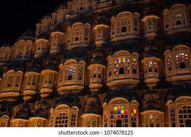 Scenic night view to Hawa Mahal in Jaipur, India