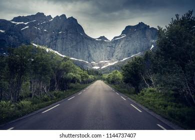 Scenic Nusfjord road in Lofoten Island, Norway