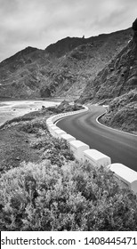 Scenic ocean drive road at the Macizo de Anaga mountain range, Atlantic Ocean coast of Tenerife, Spain.