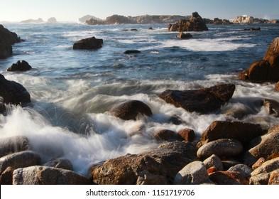 Scenic ocean landscape of Asilomar State Beach, Pacific Grove and Monterey, California, United States of America (USA)