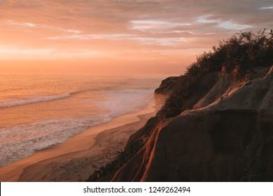 Scenic ocean sunset in Carlsbad California