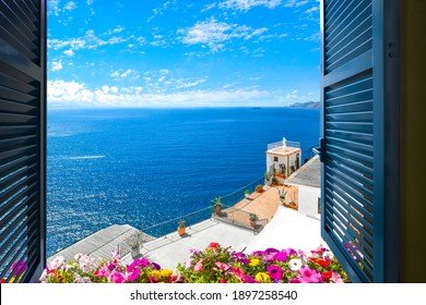 Scenic open window view of the Mediterranean Sea from a room along the Amalfi Coast near Sorrento, Italy - Shutterstock ID 1897258540