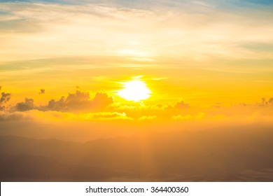 Scenic of orange sunrise sky background